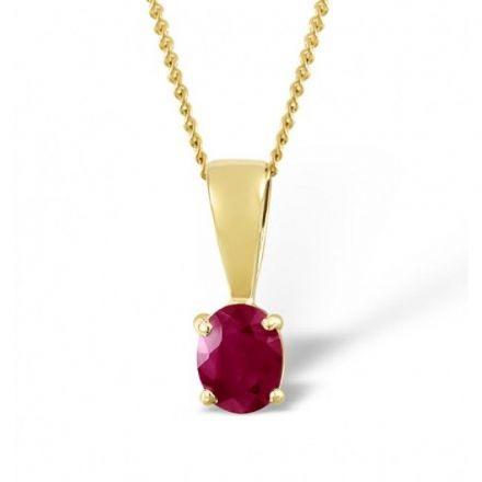 18K Gold 5mm x 4mm Ruby Pendant, DCP01-R